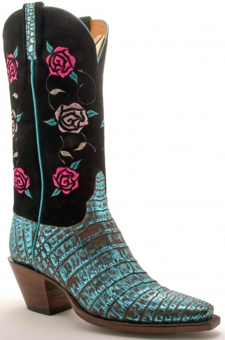 Lucchese Turquoise Metallic Caiman boots