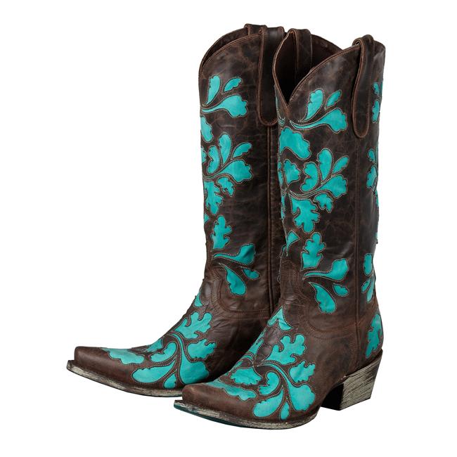 Lane Boots – Damask Brown & Turquoise