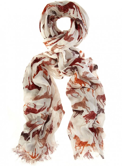 Brown & cream horse print scarf