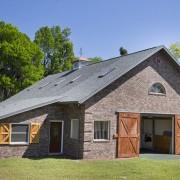Beautiful brick barn with wood doors
