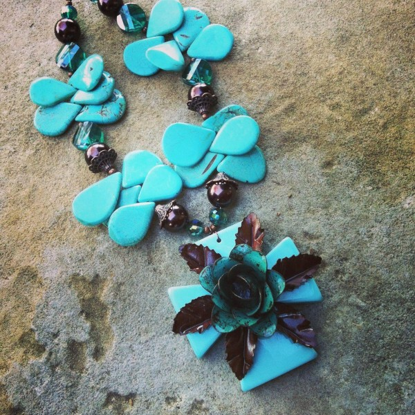 Turquoise cross & rose necklace by Jesse's Jewelz