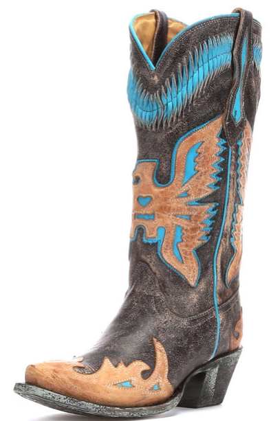Corral Black & Turquoise Eagle Boots