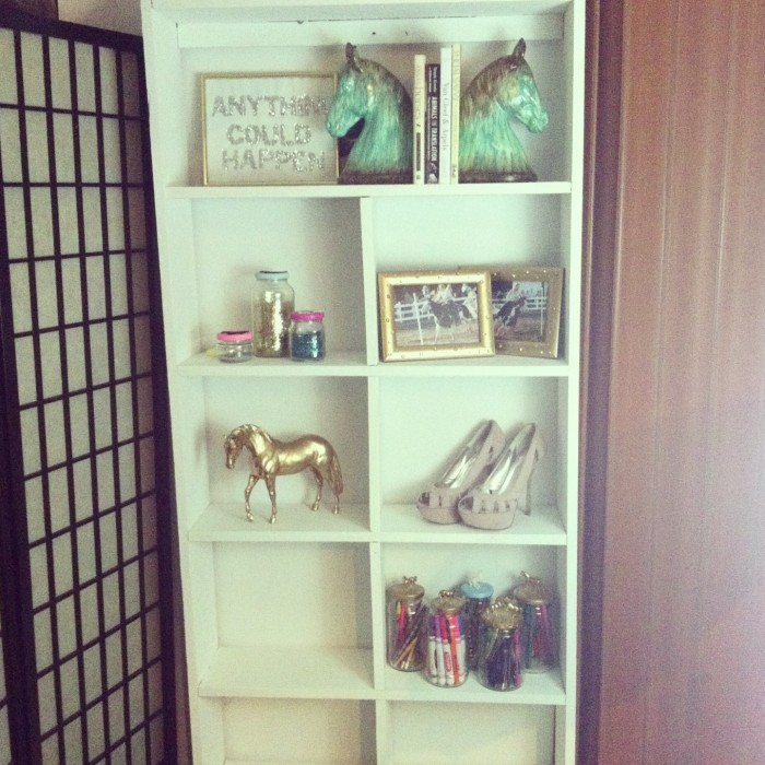 white shelf: equestrian decor