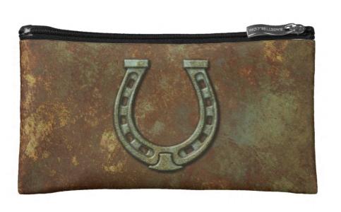 Horseshoe Grunge Rust Makeup Bag
