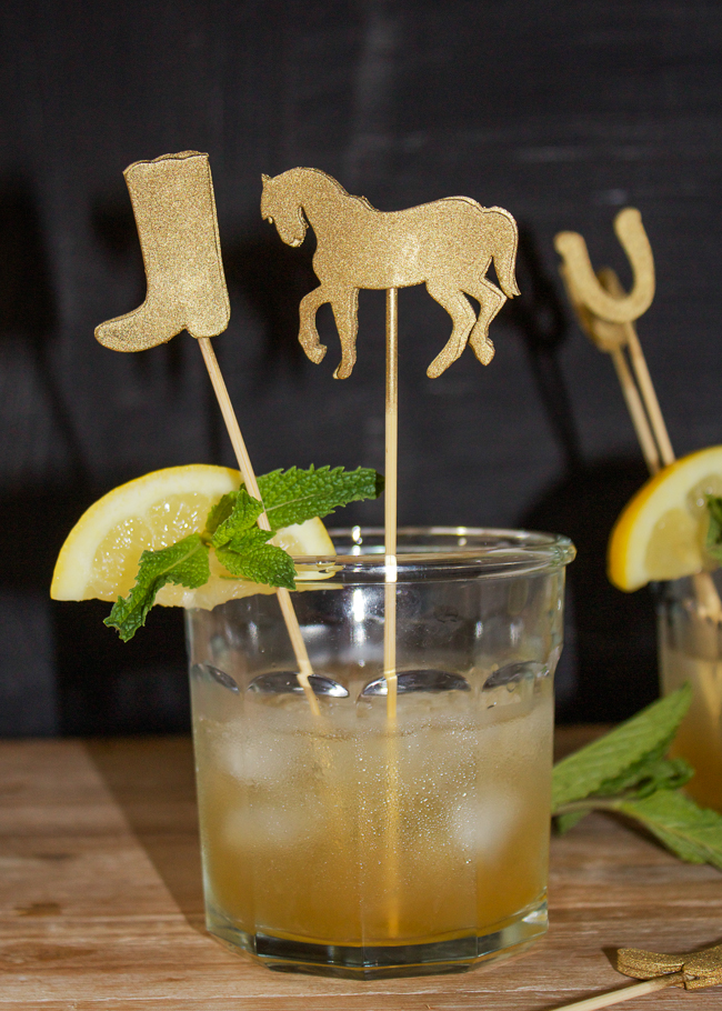 DIY Gold Kentucky Derby Cocktail Stirrers in a Mint Julep