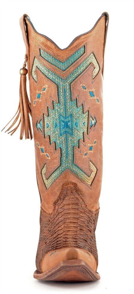 Corral Boots Python Brown and Turquoise