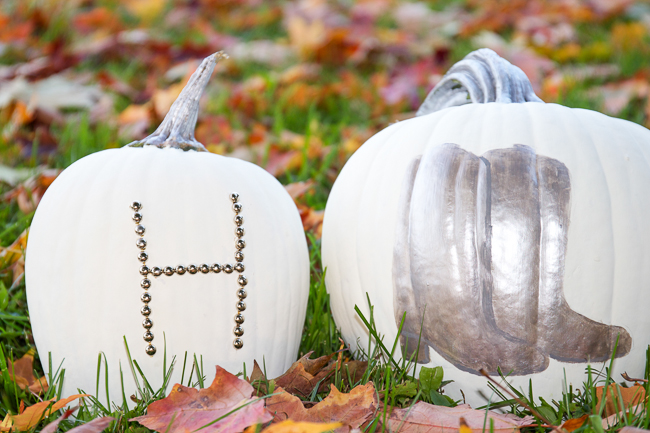 DIY Studded Initial Pumpkin and Cowboy Boot Pumpkin