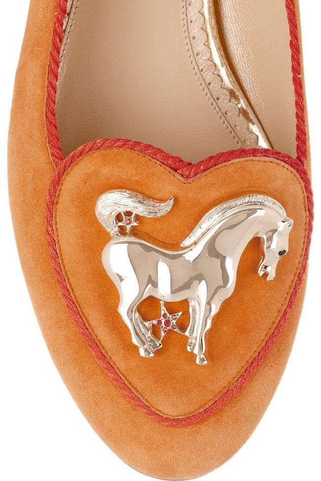 Charlotte Olympia Year of the Horse Orange Sude Flats
