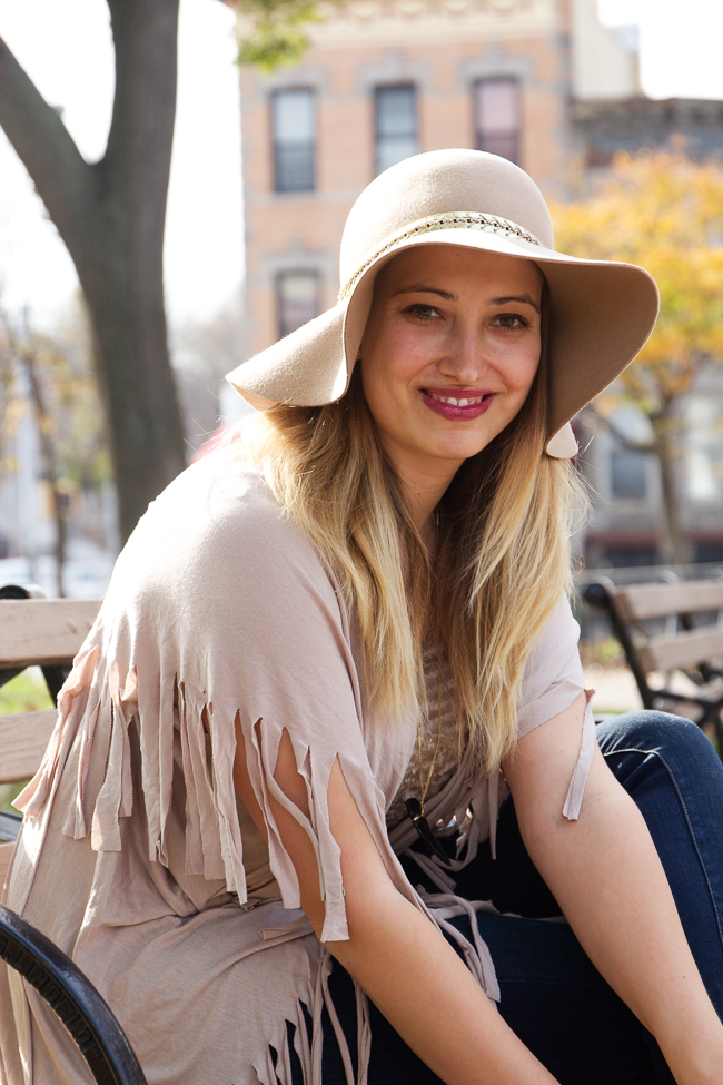 Floppy Antropologie Hat and Fringe Poncho for Fall in NYC