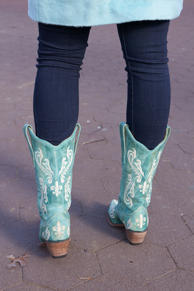 Classic Turquoise Cowboy Boots and a soft mint coat