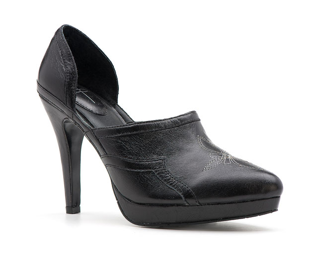 Y Knot Branded CowDiva Heel in black