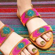 Colorful beaded rainbow sandals