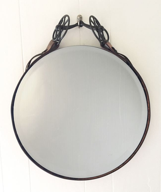 1800 Leather Equestrian Mirror with Antique Iron Bit