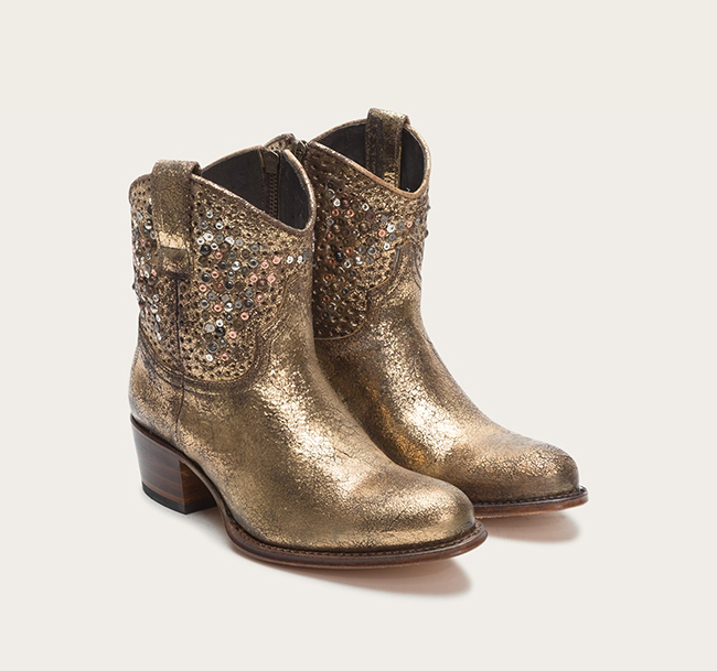 Metallic Gold Studded Shorty Boots by Frye