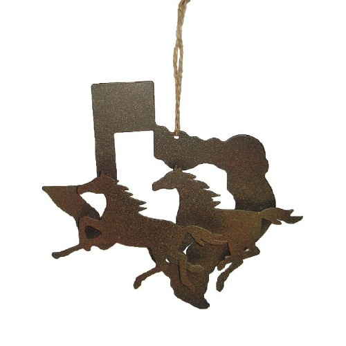 Rust running horses Texas ornament