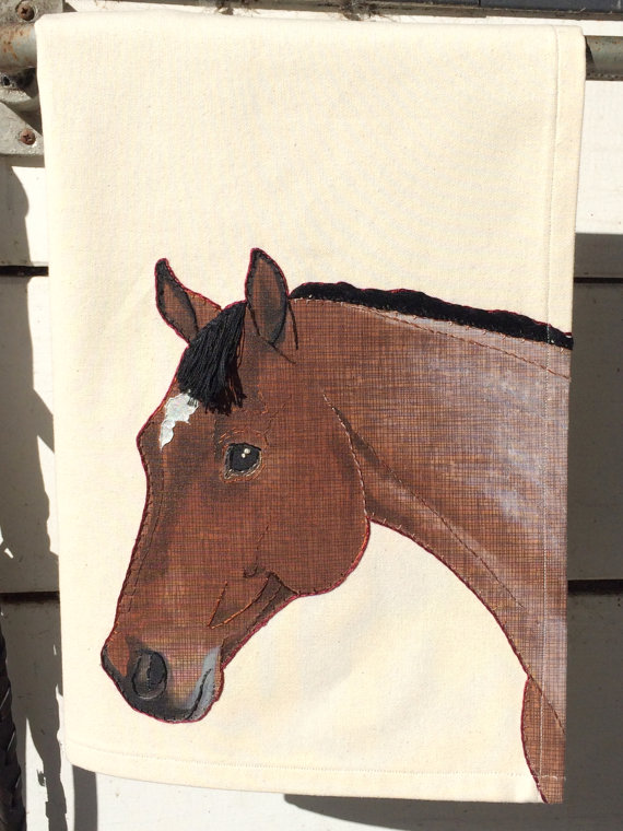 Custom horse portrait tea towel