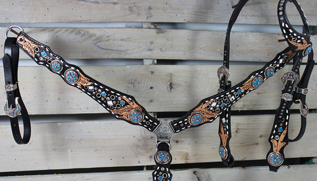 Black tack set with turquoise stones