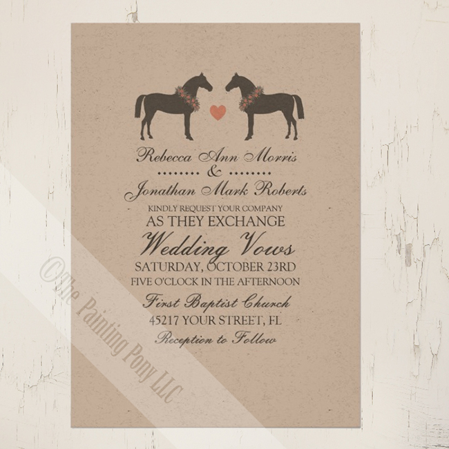 Whimsical horses wedding invitations