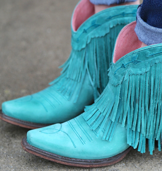 Junk Gypsy by Lane Spitfire turquoise fringe boots