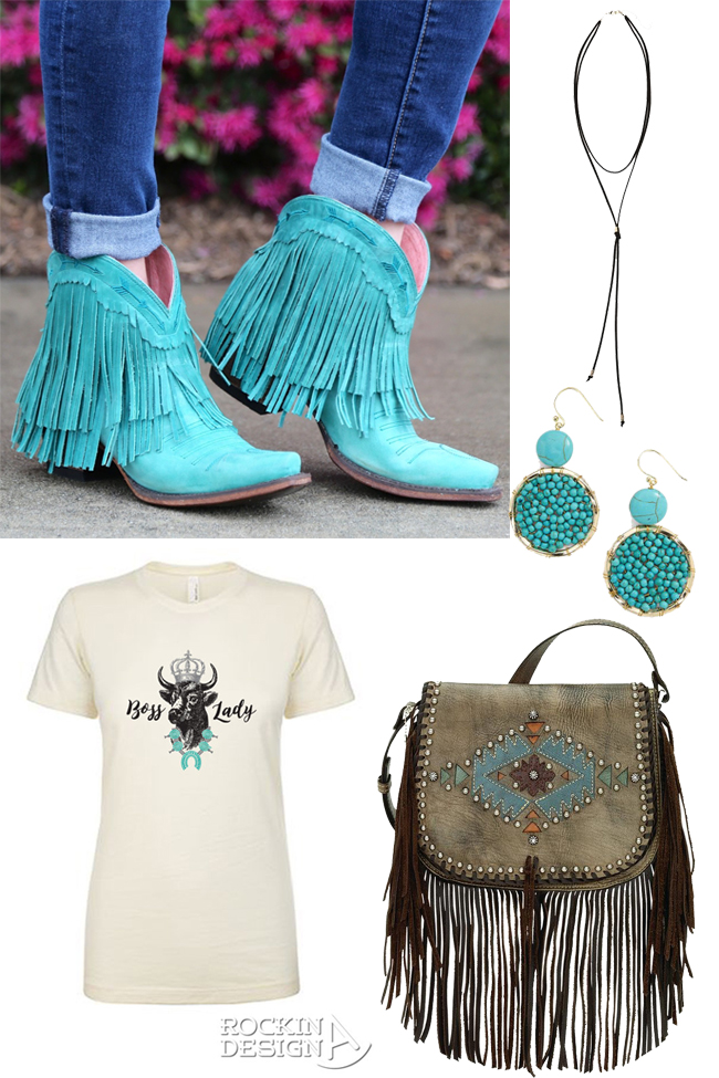 turquoise boots and accessories