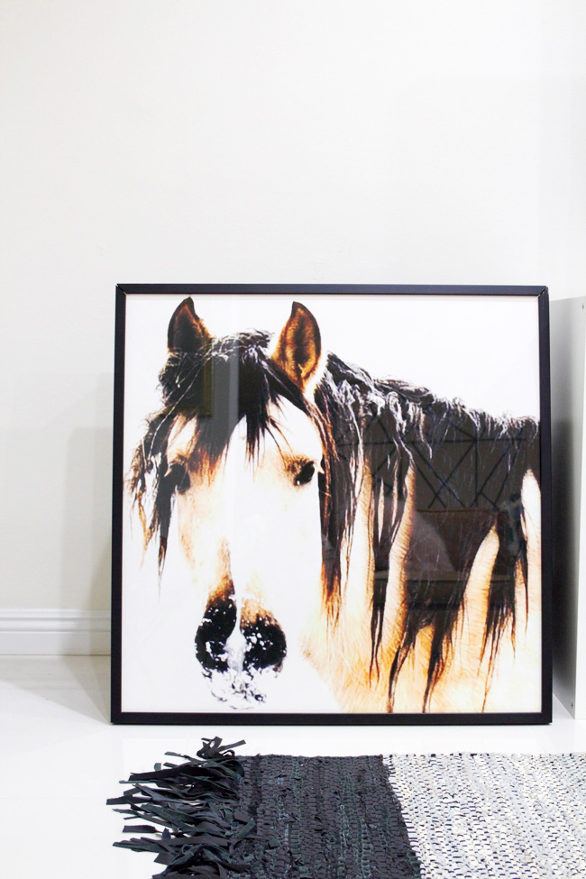 horse head art with leather fringe rug