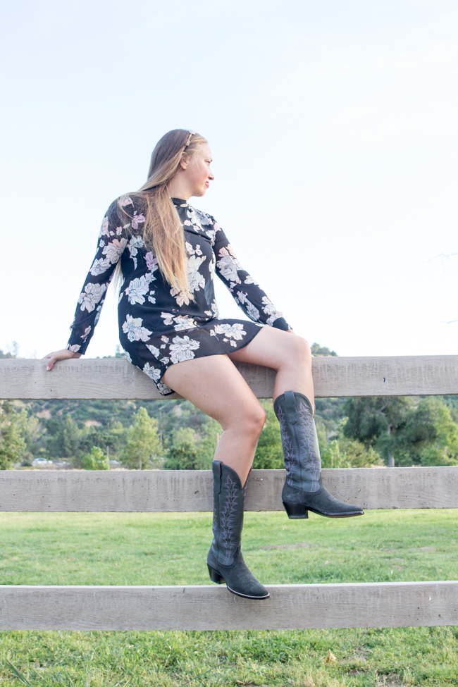 Floral print dress and cowboy boots
