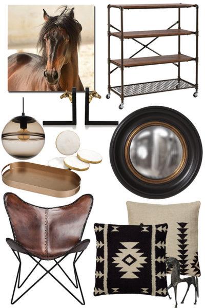 dark equestrian living room