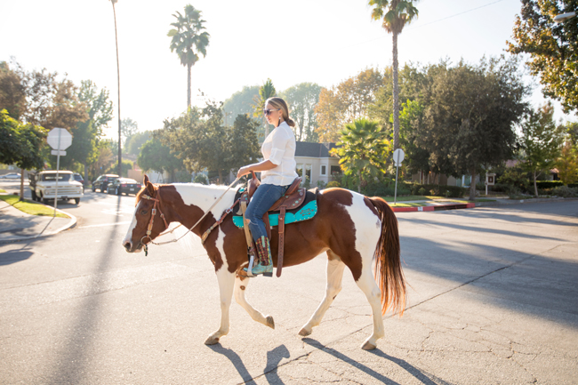 riding through Los Angeles in an equestrian community