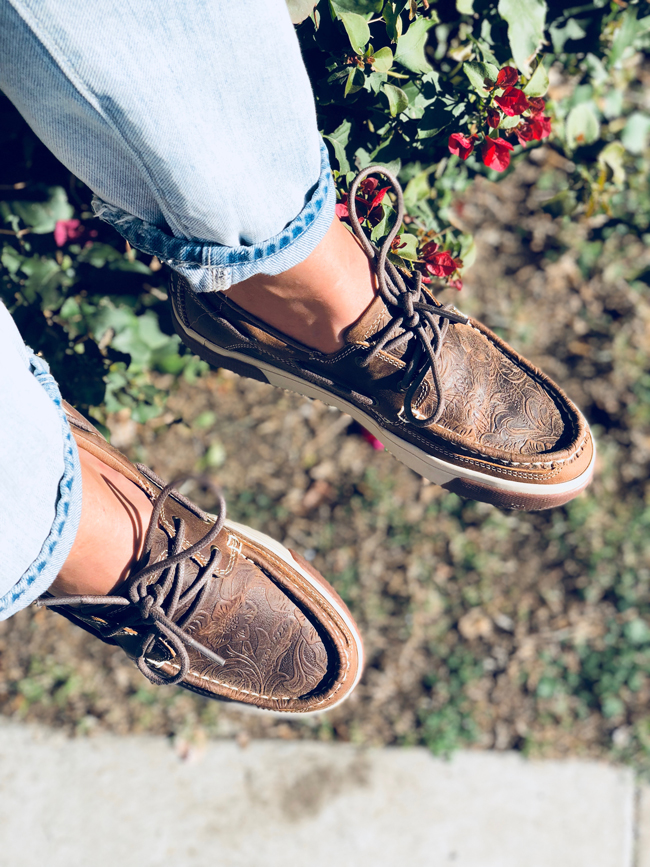 Durango Music City tooled leather boat shoes are a must for spring and summer